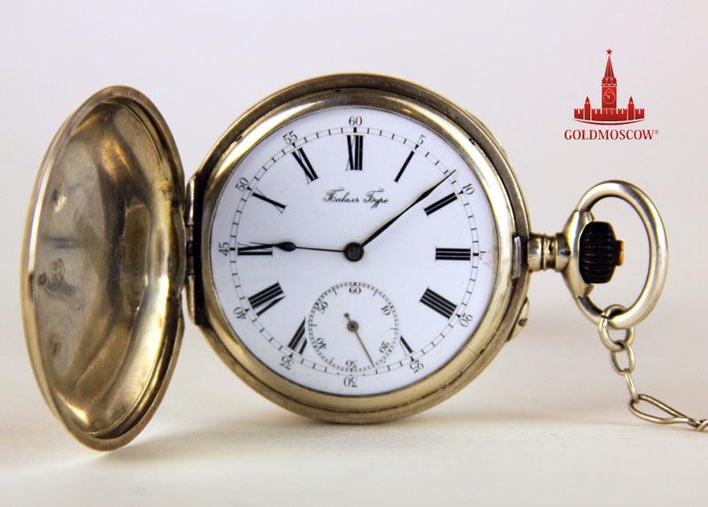 Серебряные карманные часы Павел Буре HB16