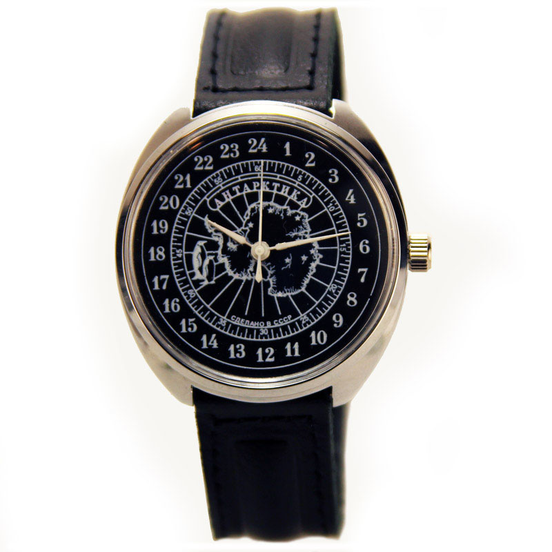 Механические часы с 24 часовым циферблатом.